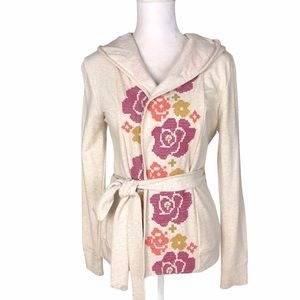 Anthropologie embroidered hoodie belted jacket XS